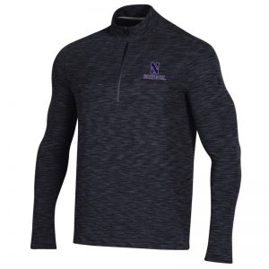 Northwestern University Wildcats Men's Under Armour Black Novelty Vanish Seamless 1/4 Zip With Stylized N Design