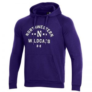 Northwestern University Wildcats Men's Under Armour Purple All Day Fleece Hood With Stylized N Design -2
