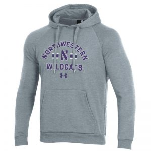 Northwestern University Wildcats Men's Under Armour Carbon Grey Heather All Day Fleece Hood With Stylized N Design