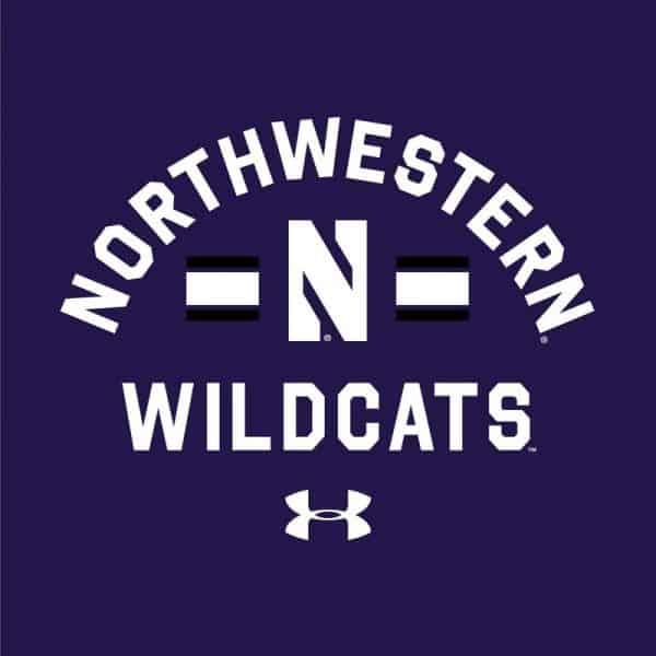 Northwestern University Wildcats Men's Under Armour Purple All Day Fleece Crew With Stylized N Design-2
