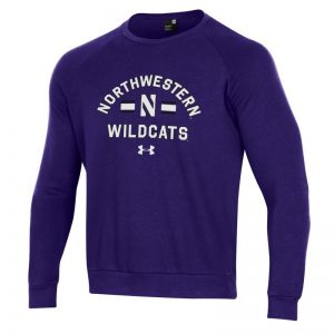 Northwestern University Wildcats Men's Under Armour Purple All Day Fleece Crew With Stylized N Design