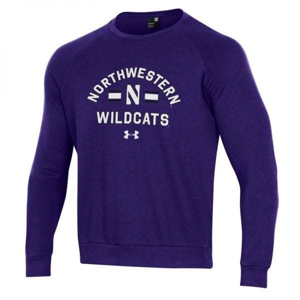 Northwestern University Wildcats Men's Under Armour Purple All Day Fleece Crew With Stylized N Design