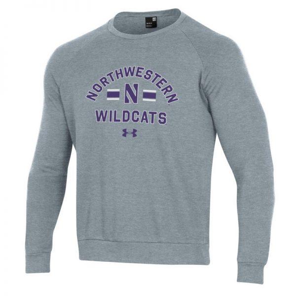 Northwestern University Wildcats Men's Under Armour Carbon Grey Heather All Day Fleece Crew With Stylized N Design