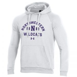 Northwestern University Wildcats Men's Under Armour White All Day Fleece Hood With Stylized N Design
