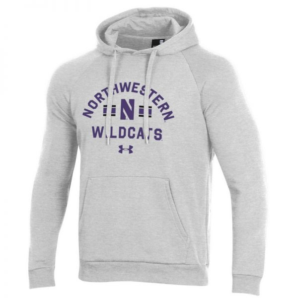Northwestern University Wildcats Men's Under Armour Silver Heather All Day Fleece Hood With Stylized N Design