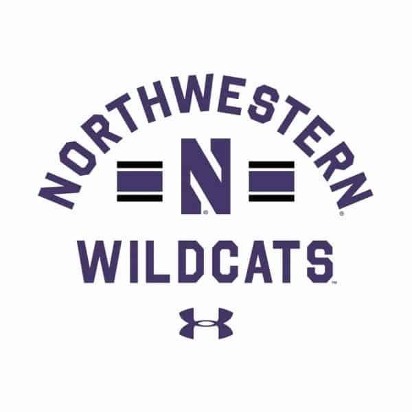 Northwestern University Wildcats Men's Under Armour White All Day Fleece Crew With Stylized N Design-2
