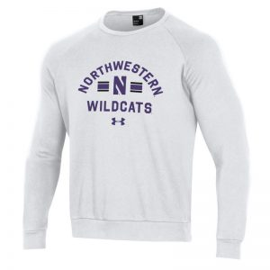 Northwestern University Wildcats Men's Under Armour White All Day Fleece Crew With Stylized N Design