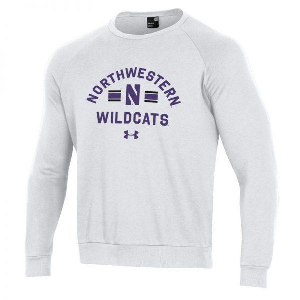 Northwestern University Wildcats Men's Under Armour White All Day Fleece Crew With Stylized N Design