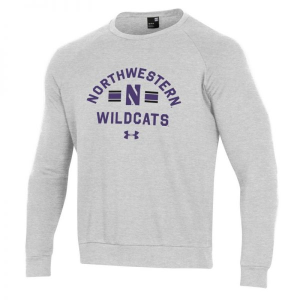 Northwestern University Wildcats Men's Under Armour Silver Heather All Day Fleece Crew With Stylized N Design