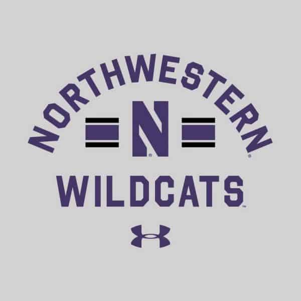 Northwestern University Wildcats Men's Under Armour Silver Heather All Day Fleece Crew With Stylized N Design -2