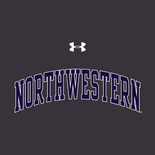Northwestern University Wildcats Ladies Under Armour Carbon Heather Performance Cotton Short Sleeve Tee With Northwestern Arch Design -2