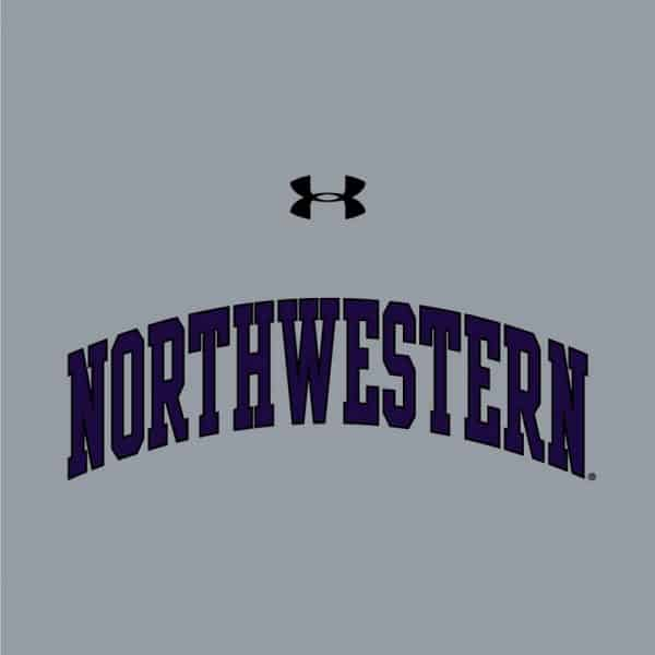 Northwestern University Wildcats Ladies Under Armour Steel Heather Performance Cotton Short Sleeve Tee With Northwestern Arch Design