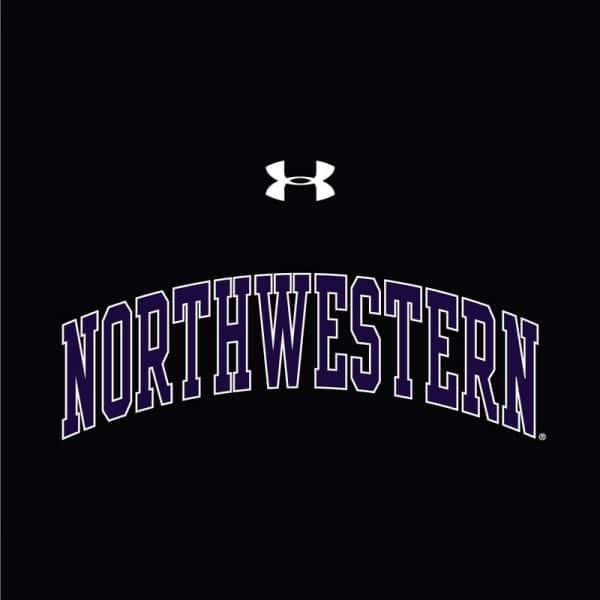 Northwestern University Wildcats Ladies Under Armour Black Performance Cotton Short Sleeve Tee With Northwestern Arch Design-2