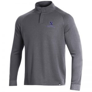 Northwestern University Wildcats Men's Under Armour True Grey Heather/Graphite Double Knit 1/4 Snap With Stylized N Design