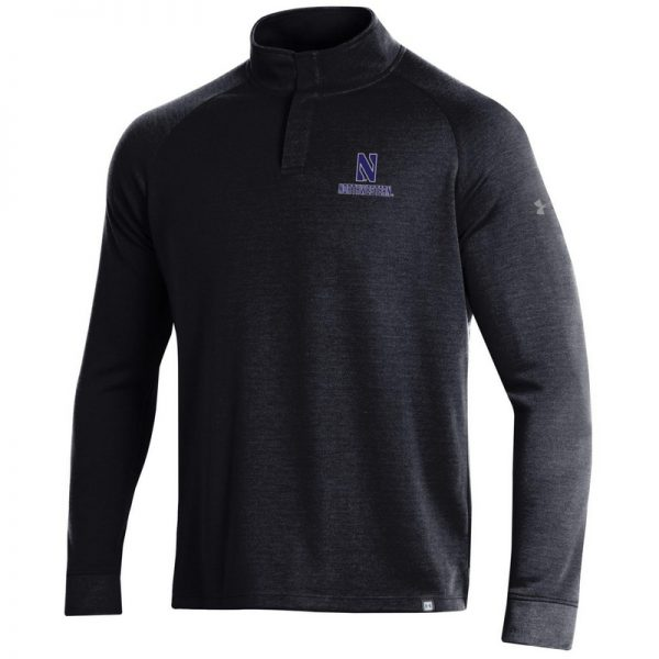 Northwestern University Wildcats Men's Under Armour Black/Graphite Double Knit 1/4 Snap With Stylized N Design