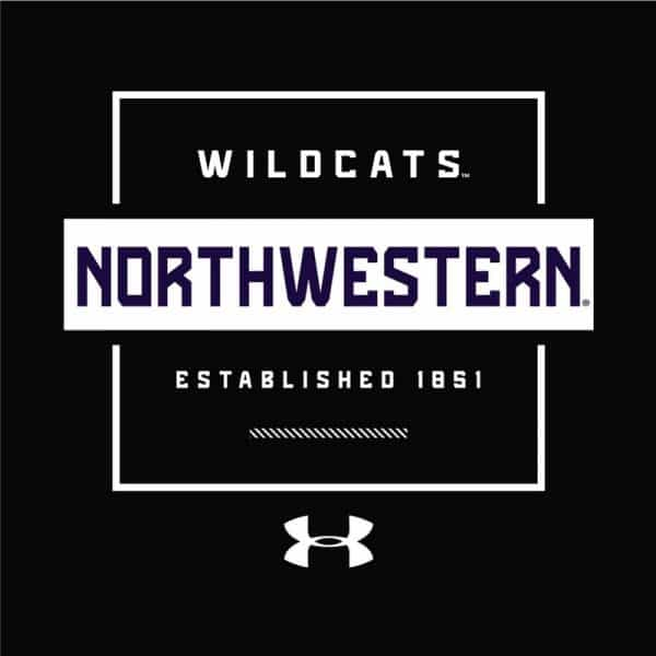 Northwestern University Wildcats Men's Under Armour Black Tech Novelty Short Sleeve Tee -2