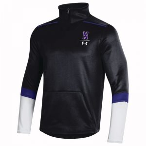 Northwestern University Wildcats Men's Under Armour Black SLQZ Sideline 1/4 Zip With Stylized N Design