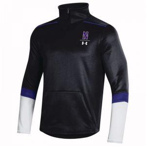 Northwestern University Wildcats Men's Under Armour Black SLQZ Sideline 1/4 Zip With Stylized N Design