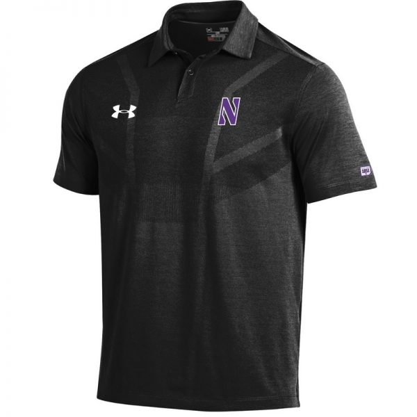 Northwestern University Wildcats Men's Under Armour Engineered Pattern Black Sideline Polo shirt