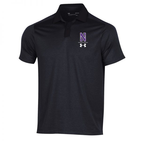 Northwestern University Wildcats Men's Under Armour Pinnacle Black Sideline Polo shirt
