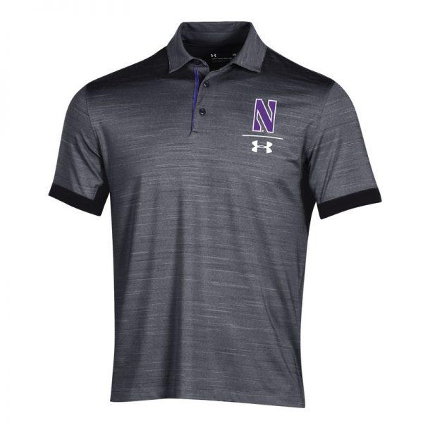 Northwestern University Wildcats Men's Under Armour Playoff Vented Black Sideline Polo shirt