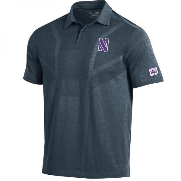 Northwestern University Wildcats Men's Under Armour Engineered Pattern Grey Sideline Polo shirt