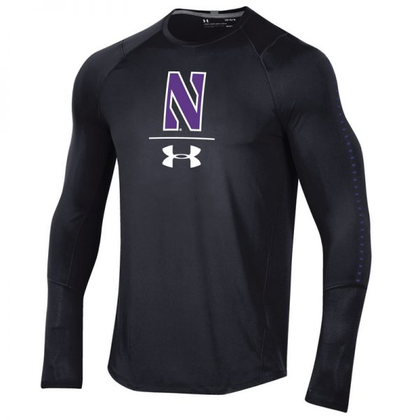 Northwestern University Wildcats Youth Under Armour Sideline Black Raid Long Sleeve Tee