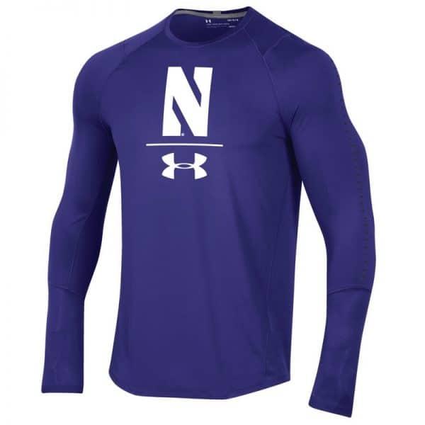 Northwestern University Wildcats Men's Under Armour Sideline Purple Raid Long Sleeve Tee