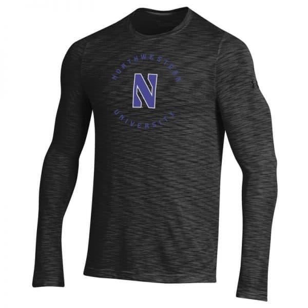 Northwestern University Wildcats Men's Under Armour Black Novelty Vanish Seamless Long Sleeve Tee