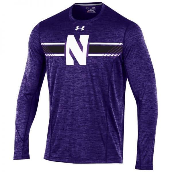 Northwestern University Wildcats Youth Under Armour Sideline Purple Microthread Long Sleeve Sleeve Tee