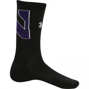 Northwestern University Wildcats Adult Under Armour Black Crew Sock With Oversized Stylized N Design