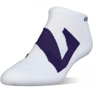 Northwestern University Wildcats Under Armour White No Show Sock With Oversized Stylized N Design