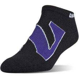 Northwestern University Wildcats Under Armour Black No Show Sock With Oversized Stylized N Design