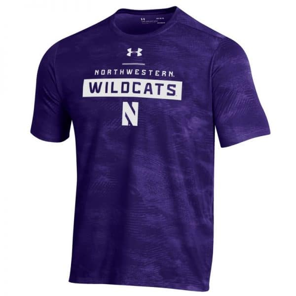Northwestern University Wildcats Men's Under Armour Purple Helix Wetprint Short Sleeve Tee
