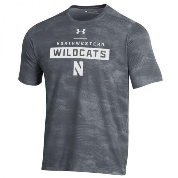Northwestern University Wildcats Men's Under Armour Pitch Grey Helix Wetprint Short Sleeve Tee