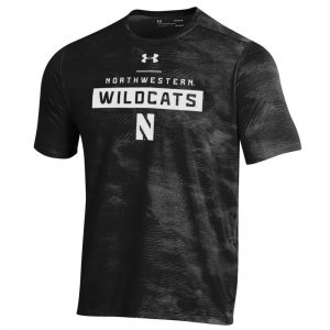 Northwestern University Wildcats Men's Under Armour Black Helix Wetprint Short Sleeve Tee