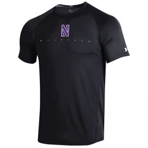 Northwestern University Wildcats Youth Under Armour Sideline Black Raid Short Sleeve Tee
