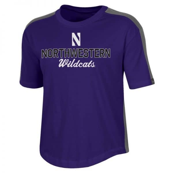 Northwestern University Wildcats Ladies Under Armour Purple / Graphite Training Camp Performance Cotton Short Sleeve Tee