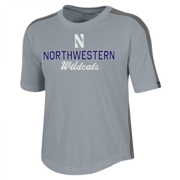 Northwestern University Wildcats Ladies Under Armour Steel Heather / Graphite Training Camp Performance Cotton Short Sleeve Tee