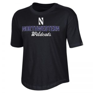Northwestern University Wildcats Ladies Under Armour Black Training Camp Performance Cotton Short Sleeve Tee