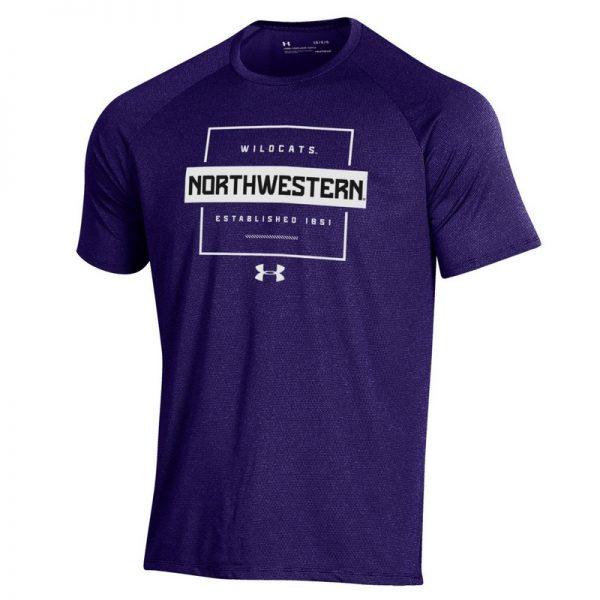 Northwestern University Wildcats Men's Under Armour Purple Tech Novelty Short Sleeve Tee
