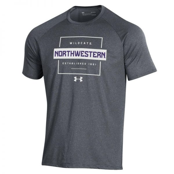 Northwestern University Wildcats Men's Under Armour Pitch Grey Tech Novelty Short Sleeve Tee