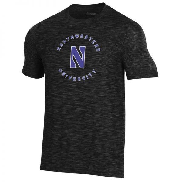 Northwestern University Wildcats Men's Under Armour Black Novelty Vanish Seamless Short Sleeve Tee