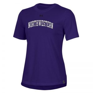 Northwestern University Wildcats Ladies Under Armour Purple Performance Cotton Short Sleeve Tee With Northwestern Arch Design