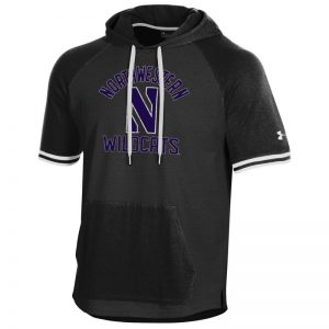 Northwestern University Wildcats Men's Under Armour Black Skybox Short Sleeve Hood