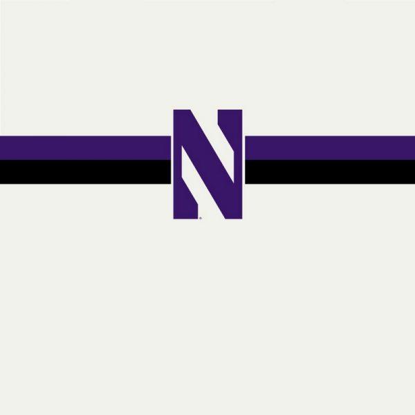 Northwestern University Wildcats Men's Under Armour White Bi-Blend Fade Short Sleeve Tee With Seam to Seam Stylized N Design -2