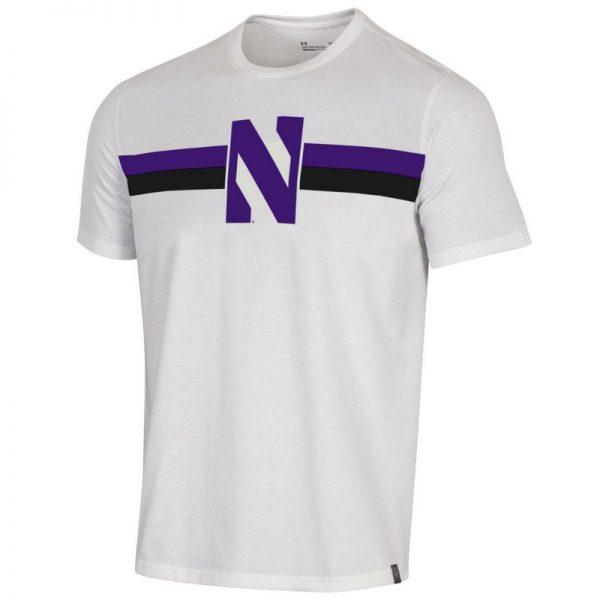 Northwestern University Wildcats Men's Under Armour White Bi-Blend Fade Short Sleeve Tee With Seam to Seam Stylized N Design