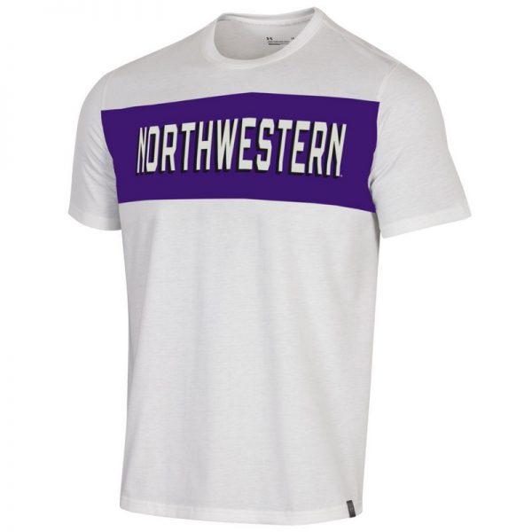 Northwestern University Wildcats Men's Under Armour White Bi-Blend Fade Short Sleeve Tee With Seam to Seam Northwestern Design