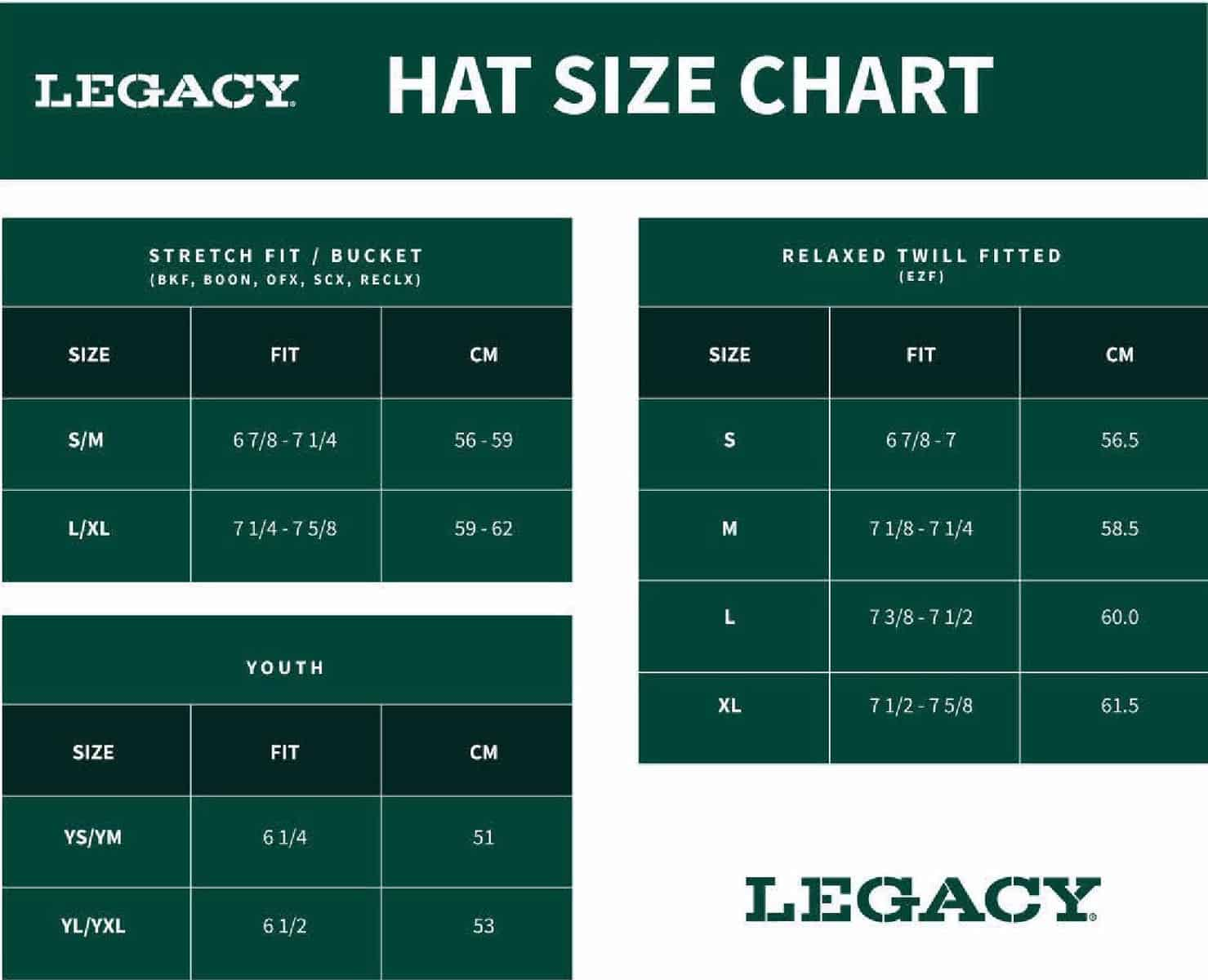 Legacy Hat Sizing Chart