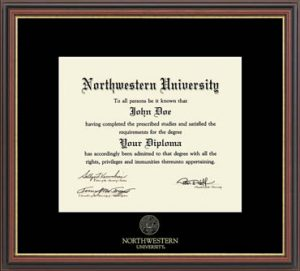 Northwestern University Wildcats Black Matted Williamsburg Diploma Frame With Gold Accent & Gold Embossed Northwestern University Seal Design